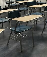 Dark Blue School Student Hard Plastic Chair Wood Laminate Top Desk Combo w/ Rack