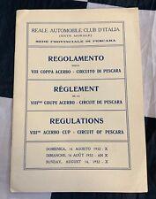 1932 8th COPPA ACERBO PESCARA GP F1 RULES REGULATION PROGRAMME ALFA P3 NUVOLARI
