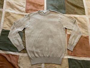 $168 Peter Millar crown soft merino wool silk oatmeal crewneck sweater S men NEW