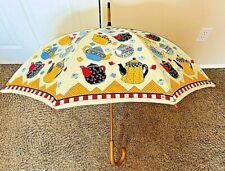 "Mary Engelbreit ~ Teapot Print Umbrella with Wooden Handle ~ Nwt Unused 35"""