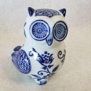 NWT ~ Pier 1 Import 2020 Small Blue White Owl Figurine Collectible Home Decor