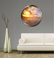 "24"" Porthole Window TROPICAL BEACH at SUNSET #1 ROUND Wall Sticker Decal Graphic"