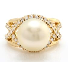 .75 Ct Natural 12.28 mm South Sea Pearl and Diamond 14K Solid Yellow Gold Ring