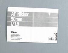 NIKON 50MM F 1.8 AF NIKKOR LENS INSTRUCTIONS/132971