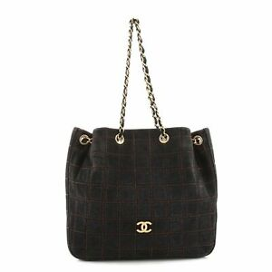 Chanel Vintage Square Drawstring Bucket Bag Quilted Suede Medium