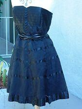 Karen Millen England Dress Black Satin Tulle Formal Party Dress Size 8/UK 12