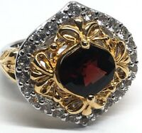 Vintage Sterling Silver Ring 925 Size 6 China Two Tone Red Garnet Cz