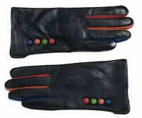 Soft Full Leather Gloves Coloured Button Fully Lined Black Blue Red New Ladies