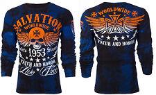 Archaic Affliction Mens L/S Thermal Shirt BLACK TIDE Skull BLK Biker S-3XL $58 c