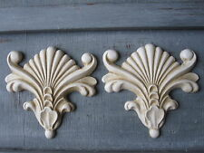 TWO BEAUTIFULL  DECORATIVE ORNATE SHELL SCULPTURES/ FURNITURE/ MIRROR MOULDING