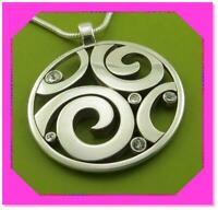BRIGHTON LONDON GROOVE Scroll Silver Round Disc Pendant NECKLACE NWtag *