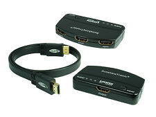 3x1 High Speed HDMI switch + 0,7m HDMI Cable plano | FullHD | HDTV | 3d #301d