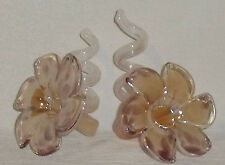 Murano Glass Coiled Flower Candle Holders TWO Pieces Italy 6 Petal Vtg Pair