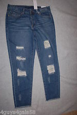 528de9e8935 Junior Womens Rue 21 Cropped Blue Jeans Relaxed Distressed Ripped Raw Hem 7    8