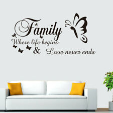 Family where life begins and love never end Vinyl wall art sticker decal black