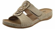 Womens Slip on Mules Slider Cushioned Ladies Low Wedge Heel Comfort Sandals Shoe Montgo-beige UK 6 / EU 39