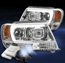 FOR 1999-2004 JEEP GRAND CHEROKEE LED TUBE PROJECTOR HEADLIGHT CHROME +8000K HID