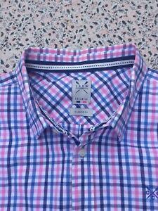 CREW CLOTHING - Navy-Pink-Blue-White - Check - Button Cuff - Shirt - XXL