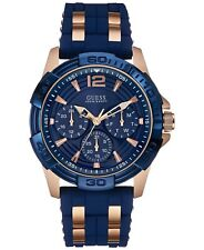New Guess Blue Silicon Rose Gold Tone Multi Dial Men's Watch U0366G4