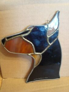 Doberman ? Rotwiler ? Sun Catcher Signed R.F.H. 1980 Stained Glass ? Plastic ?