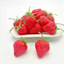 20pcs Party BBQ Decor Artificial Strawberries Lifelike Faux Realistic Fake-Fruit