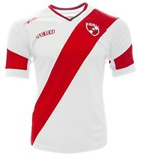 PERU  New Arza Soccer Jersey White/Red Slim Fit 100% Polyester