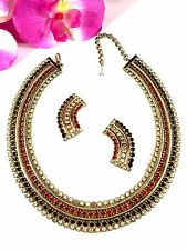 1957 HOBE RUBY RED CRYSTAL RHINESTONE CLEOPATRA COLLAR NECKLACE CLIP EARRING SET
