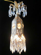 1o3 jeweled Tulip lily filigree SWAG Plug Crystal lamp chandelier Vintage brass