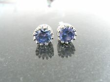 Tanzanite Slightly Dark Treated .925 Sterlig Silver 7mm Stud Earrings. SALE !