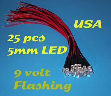 25 PRE WIRED WHITE FLASHING LED LIGHTS 5mm 9 VOLT PREWIRED 9V