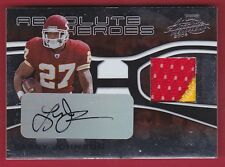 LARRY JOHNSON 2006 ABSOLUTE MEMORABILIA HEROES 2CLR PATCH AUTO PRIME #23/50