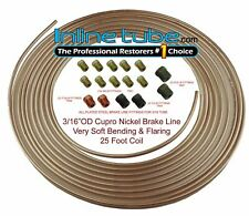 Copper Nickel Brake Line Tubing Kit 3/16 OD 25 Foot Coil Roll all Size Fittings