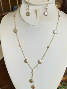 """Coin Pearls Necklace set 18"""" Freshwater Earrings 14k gold filled Baroque Silver"""