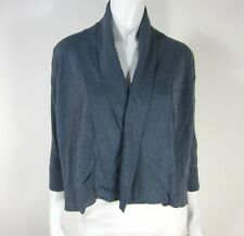 EILEEN FISHER NWT 3/4 SLEEVE STRAIGHT CARDIGAN SWEATER S Small BLUE GRAY 116