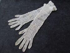 PAIR ANTIQUE EDWARDIAN IRISH CROCHET 3/4 LENGTH GLOVES WEDDING...EX SMALL..