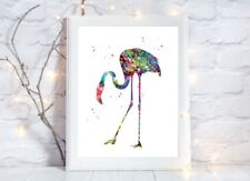 flamingo  glossy Print poster a4 paint splatter nursery picture unframed