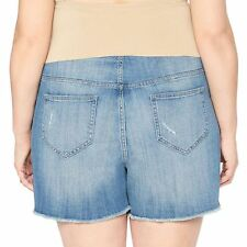 Plus Maternity Oh Baby by Motherhood Secret Fit Belly Distressed Jean Shorts 2X
