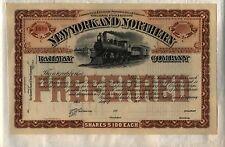 New York & Northern Railway Company Stock Certificate Railroad