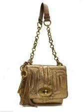 Fossil Quinn Patchwork Flap Shoulder Bag Gold Leather Handbag Turnlock New! NWT