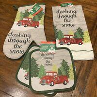 4 Pc Christmas Trees Red Truck Kitchen Set Pot Holders Oven Mitt Towel Decor