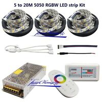 5M to 20M LED Strip RGBW 5050 Flexible Tape + 2.4G RF Controller+ Power adapter