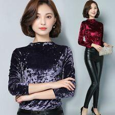 Women Elegant Velvet Shiny Shirt Half Turtle Neck Long Sleeve Top Pullover NEW