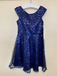 Age 8 - Sweet Heart Rose - Blue Sequin Cap Sleeve Round Neck Lined Skater Dress