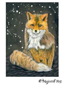 "Archival ACEO Print Fox Wildlife Wild Dog Animal ""Majestical"" By V Kenworthy"