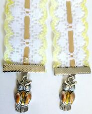 1 x double end lace Ribbon rhinestone owl bird charm Bookmark