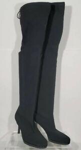 New Stuart Weitzman TIEMODEL Black Over The Knee OTK Stretch Fabric Boot 6.5