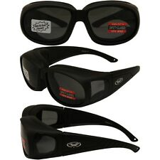 MOTORCYCLE SUNGLASSES FITS OVER PRESCRIPTION GLASSES SMOKE PADDED