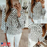 Women Peplum Polka Dot Long Bell Sleeve Chiffon Blouse Tops Ladies Office Shirt