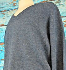 Lands End Men's V-Neck Pullover Sweater Sz Large Wool Blend Blue Elbow Patches