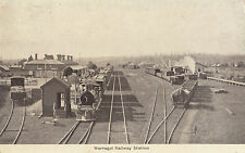 Stamp 1d red queen on postcard of Warragul Railway Station Victoria up train